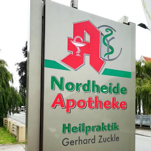 Werbetafel der Nordheide-Apotheke in Bad Salzuflen